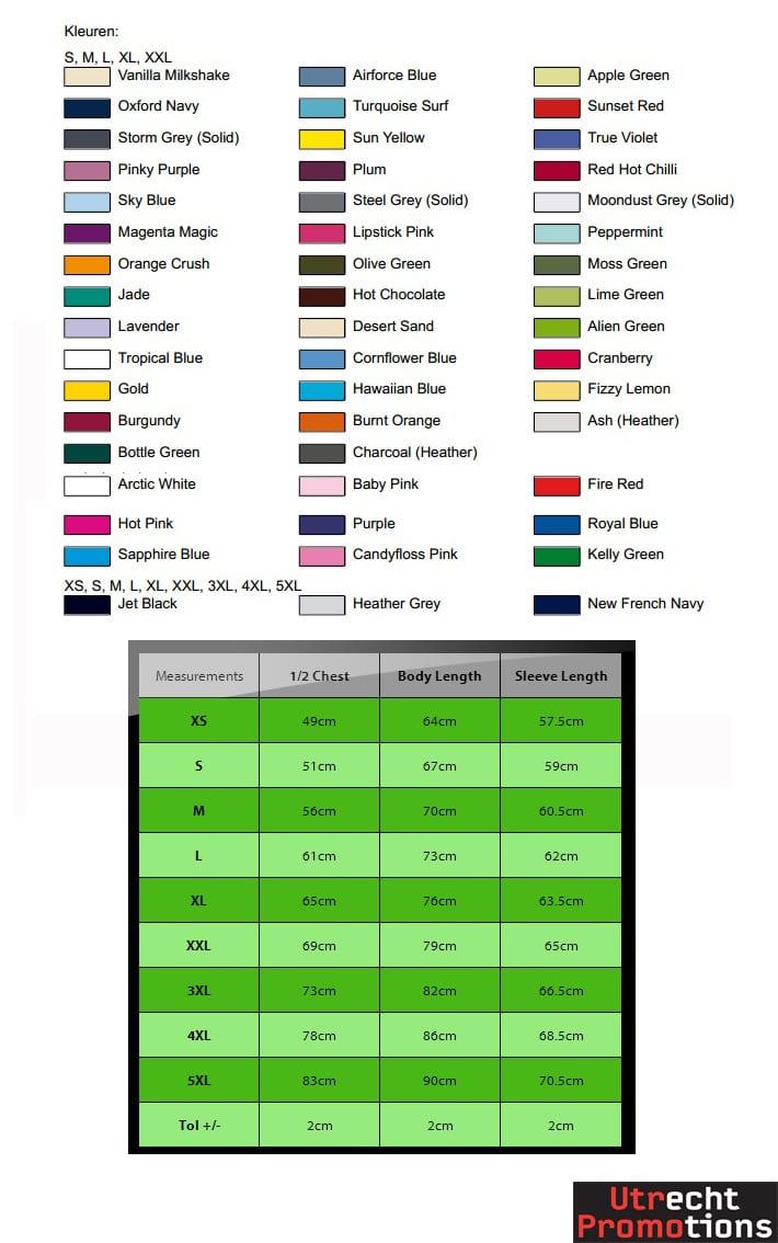 JH001 kleuren en measurements